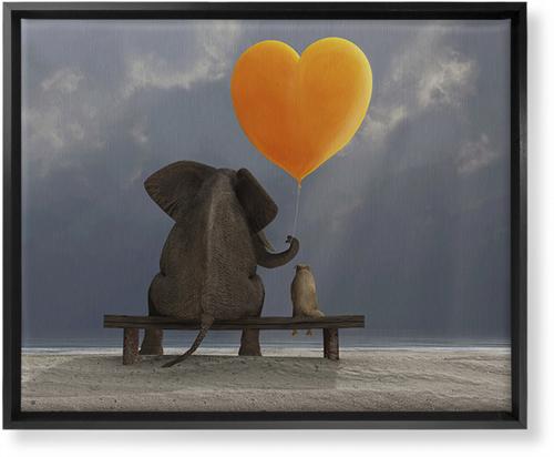Elephant Heart Balloon Canvas Print, Black, Single piece, 16 x 20 inches, Multicolor