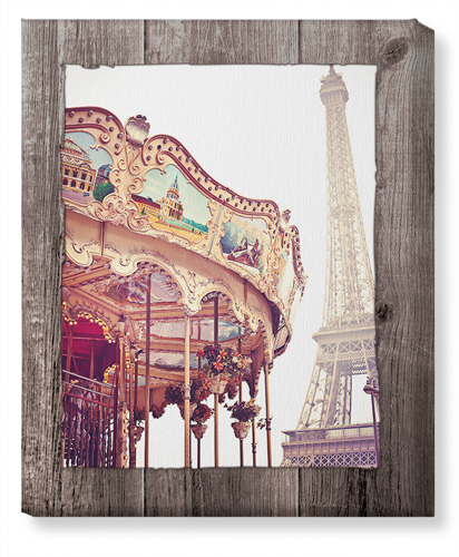Eiffel Tower and Merry Go Round Canvas Print, None, Single piece, 16 x 20 inches, Brown