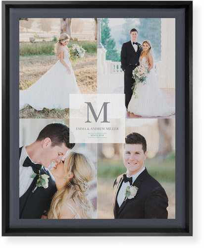 Classic Initial Wedding Canvas Print, CANVAS_FRAME_BLACK, Single piece, 16 x 20 inches, White