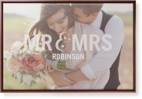 Mr And Mrs Canvas Print White