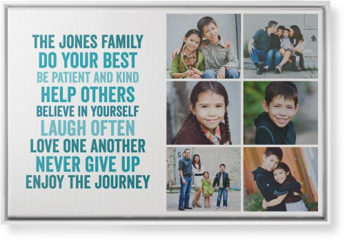 All About Family of Six Canvas Print, White, Single piece, 24 x 36 inches, Blue
