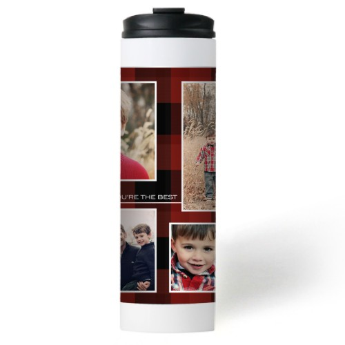 You're The Best Plaid Stainless Steel Travel Mug, White,  , 20 oz, Red