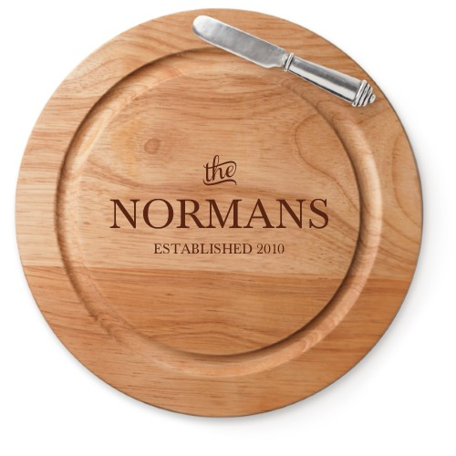 Stately Name Cutting Board, Rubber, Round Cutting Board, With Cheese Knife, White