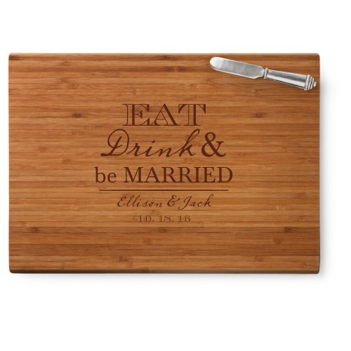 Eat Drink and be Married Cutting Board, Bamboo, Rectangle Cutting Board, With Cheese Knife, White