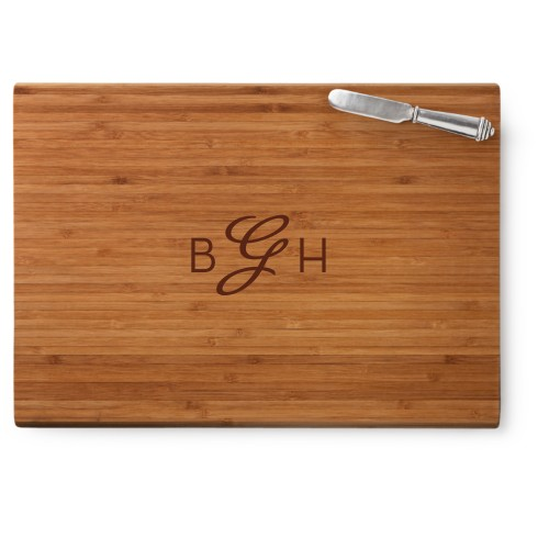 Three Letter Script Monogram Cutting Board, Bamboo, Rectangle Cutting Board, With Cheese Knife, ...