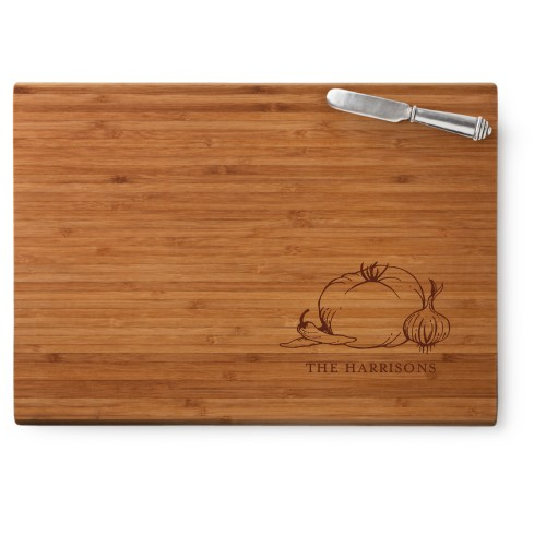 Perfect Produce Cutting Board, Bamboo, Rectangle Cutting Board, With Cheese Knife, White