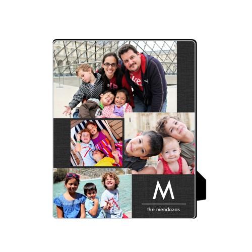 Simple Monogram Desktop Plaque, Rectangle, 8 x 10 inches, Grey