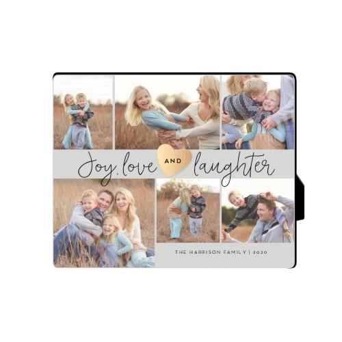 Joy Love Laughter Desktop Plaque, Rectangle, 8 x 10 inches, Grey