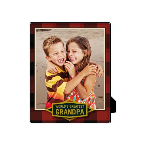 Greatest Grandpa Plaid Desktop Plaque, Rectangle, 8 x 10 inches, Red