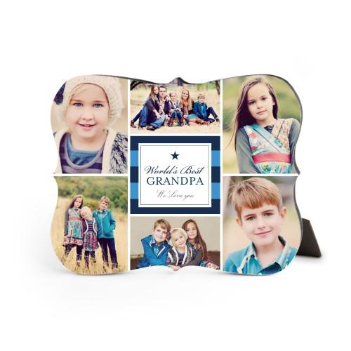 World's Best Stripe Collage Desktop Plaque, Bracket, 8 x 10 inches, Blue