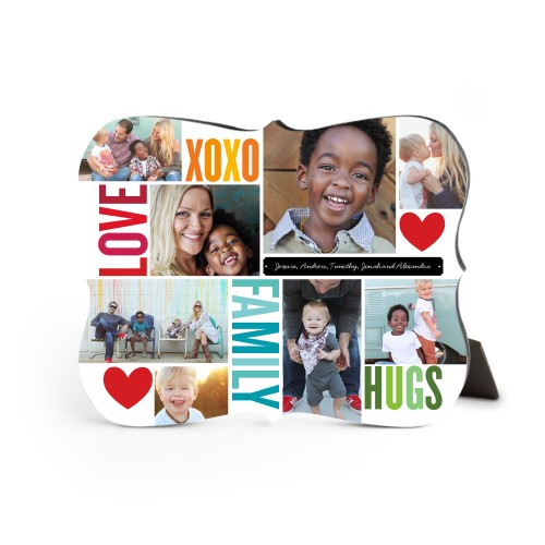 Family Love Hugs Desktop Plaque, Bracket, 8 x 10 inches, Red