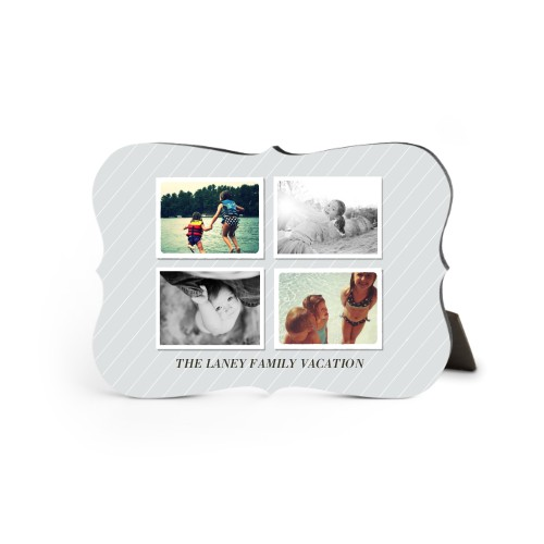 Simple Pinstripes Desktop Plaque, Bracket, 5 x 7 inches, Grey