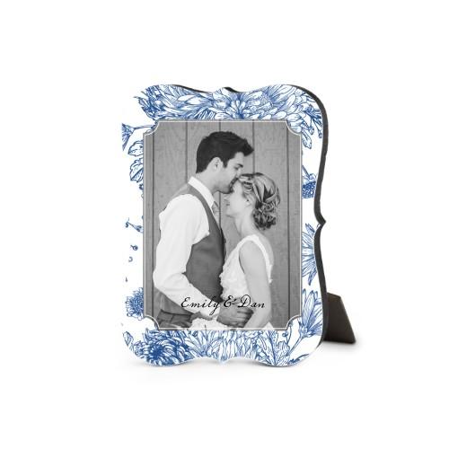 Toile Frame Desktop Plaque, Bracket, 5 x 7 inches, Blue