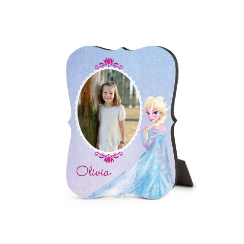 Disney Frozen Elsa Desktop Plaque, Bracket, 5 x 7 inches, Purple