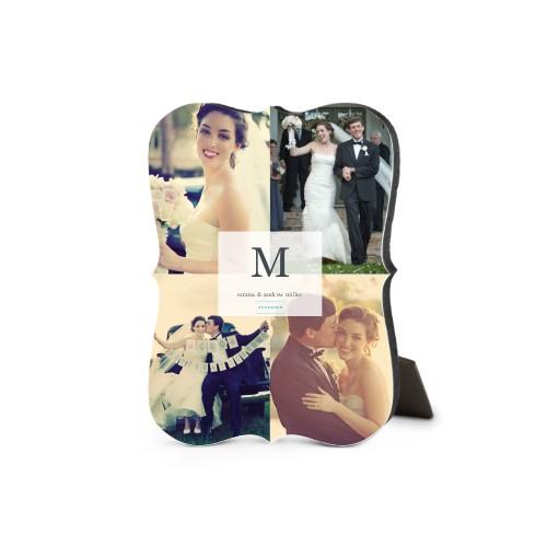 Classic Initial Wedding Desktop Plaque, Bracket, 5 x 7 inches, White