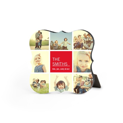 Family Collage Squares Desktop Plaque, Bracket, 5 x 5 inches, Red