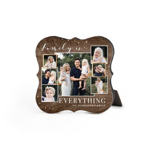 Family Overlap Collage Desktop Plaque, Bracket, 5 x 5 inches, Brown
