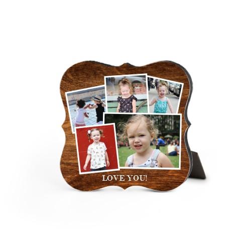 Woodgrain Montage Desktop Plaque, Bracket, 5 x 5 inches, Brown