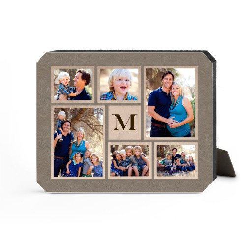 Collage Monogram Desktop Plaque, Ticket, 8 x 10 inches, Brown