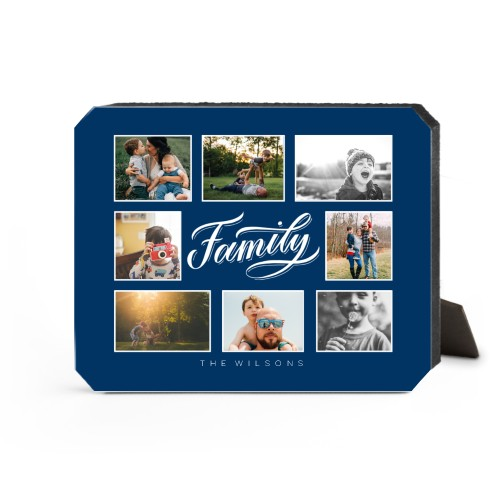 Family All Around Collage Desktop Plaque, Ticket, 8 x 10 inches, Blue