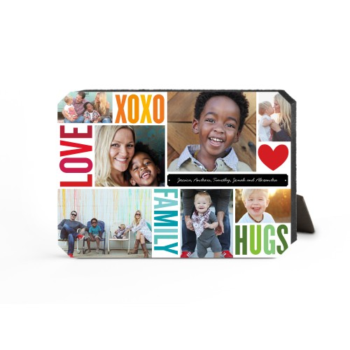 Family Love Hugs Desktop Plaque, Ticket, 5 x 7 inches, Red