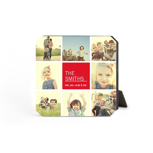 Family Collage Squares Desktop Plaque, Ticket, 5 x 5 inches, DynamicColor