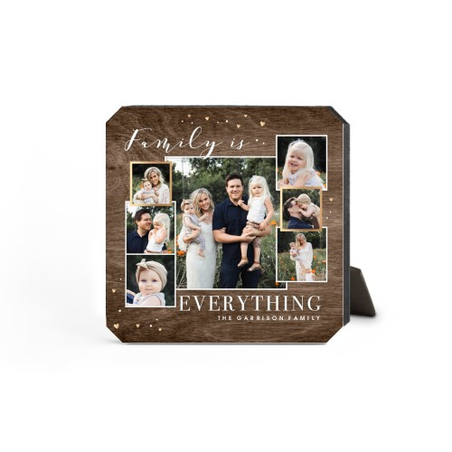 Family Overlap Collage Desktop Plaque, Ticket, 5 x 5 inches, Brown