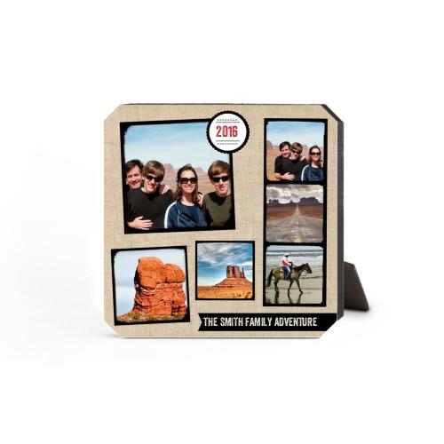 Full Of Adventure Desktop Plaque, Ticket, 5 x 5 inches, Beige