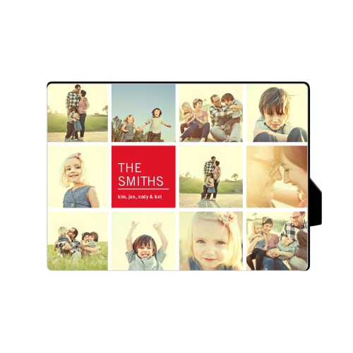 Family Collage Squares Desktop Plaque, Rectangle, 5 x 7 inches, Red