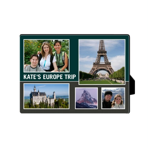 Travel Collage Desktop Plaque, Rectangle, 5 x 7 inches, Grey