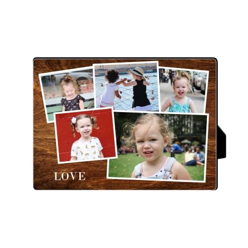 Woodgrain Montage Desktop Plaque, Rectangle, 5 x 7 inches, Brown