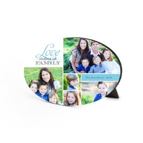 Love Makes Us Family Oval Desktop Plaque, Oval, 6 x 8.5 inches, Blue