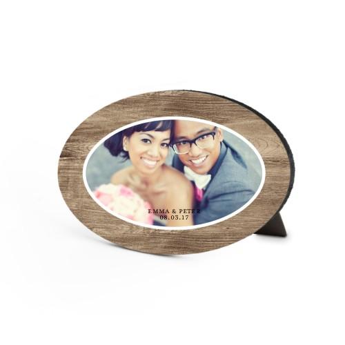 Love Pattern Script Oval Desktop Plaque, Oval, 6 x 8.5 inches, Beige