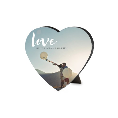 Love Script Heart-Shaped Desktop Plaque