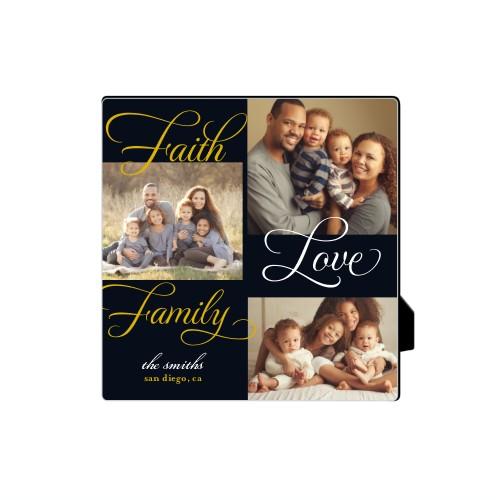 Faith And Family Desktop Plaque, Rectangle, 5 x 5 inches, Black