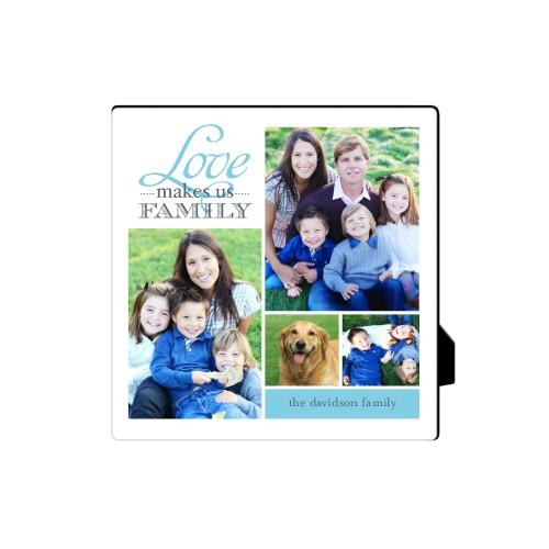 Love Makes Us Family Desktop Plaque, Rectangle, 5 x 5 inches, DynamicColor