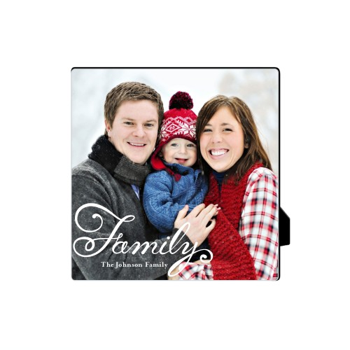 Hand-Lettered Family Desktop Plaque, Rectangle, 5 x 5 inches, White