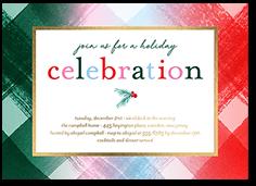 playful plaid holiday invitation