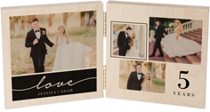 modern scripted love double wooden print