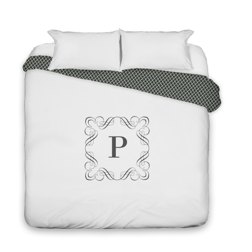 Stylized Border Monogram Duvet Cover