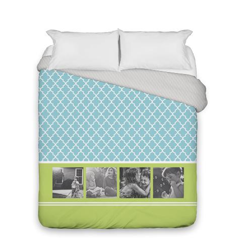 Lantern Print Duvet Cover, Duvet, Duvet Cover w/ Taupe Ticking Stripe Back, Queen, Blue