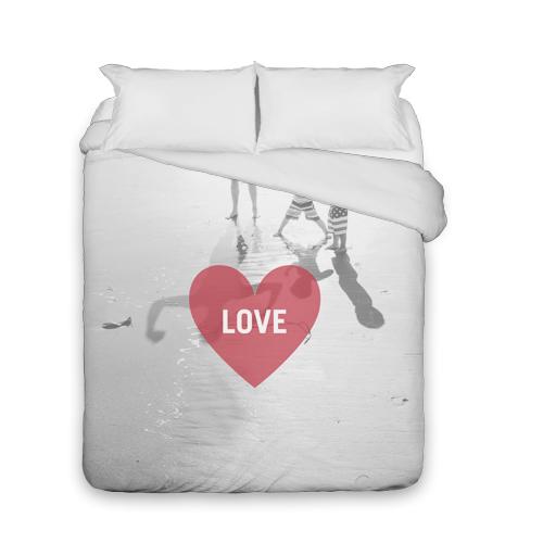 Love Heart Overlay Duvet Cover, Duvet, Duvet Cover w/ White Back, Queen, Red