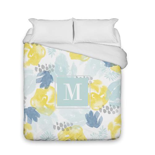 Watercolor Floral Duvet Cover, Duvet, Duvet Cover w/ White Back, Queen, Blue