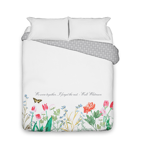 Spring Floral Duvet Cover, Duvet, Duvet Cover w/ Grey Damask Back, Queen, White