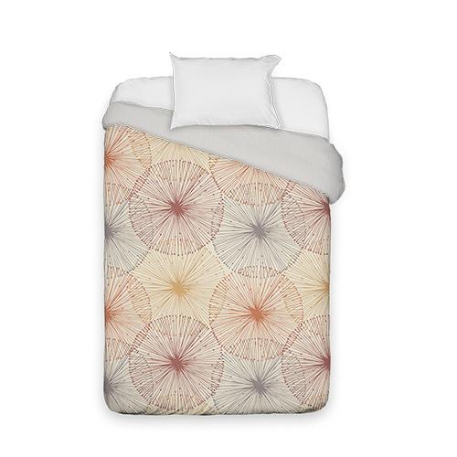 Dandelions Duvet Cover, Duvet, Duvet Cover w/ Taupe Ticking Stripe Back, Twin, Multicolor