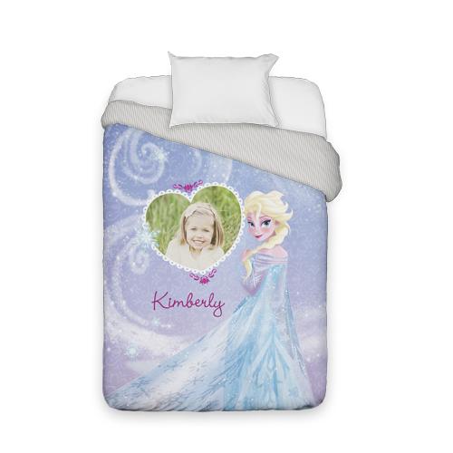 Disney Frozen Elsa Duvet Cover, Duvet, Duvet Cover w/ Taupe Ticking Stripe Back, Twin, Purple