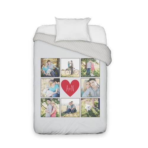 Love Grid Monogram Duvet Cover, Duvet, Duvet Cover w/ Taupe Ticking Stripe Back, Twin, Grey