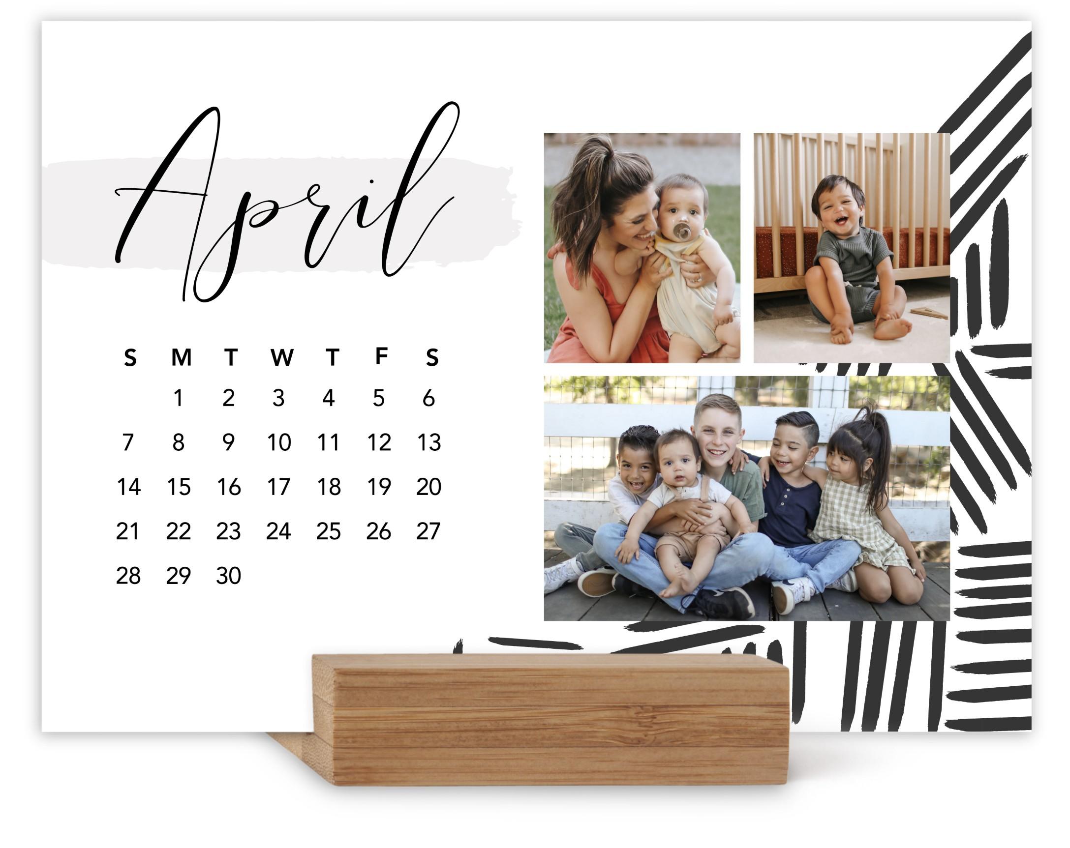 black white patterns easel calendar