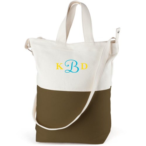 Three Letter Monogram Canvas Tote Bag, Army Green, Bucket tote, White
