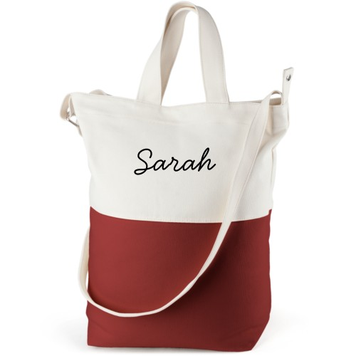 Make It Yours Canvas Tote Bag, Red, Bucket tote, White